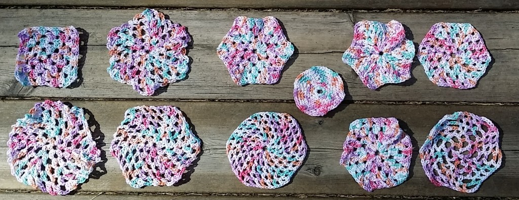 virkade sexkanter hexagoner / crochet hexagons