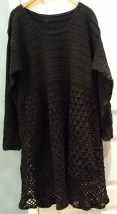 black crochet tunic dress top bamboo yarn virkad svart tunika topp klänning bambu garn