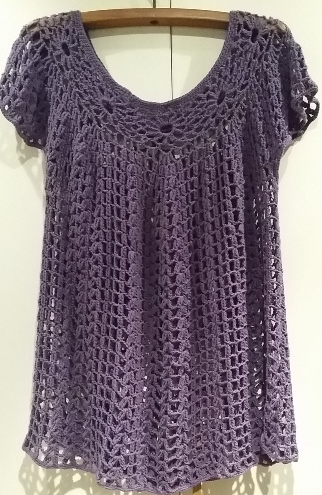 virkad tunika i alara bomullsgarn crochet cotton yarn top tunic dress