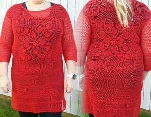 röd klänning tunika bomull merceriserad 12/3 virkad red crochet tunic lace cotton yarn dress