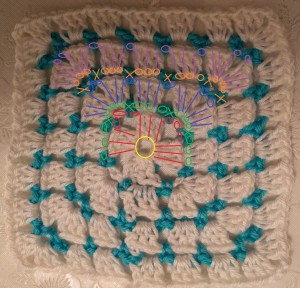 virkad mormorsruta block stitches granny square crochet diagram pattern